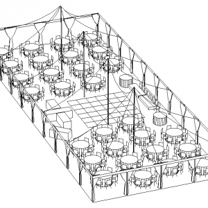 Ideas for a venue layout high volume entertainment for Wedding tent layout design